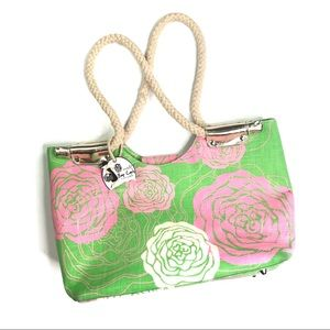 Mud Pie Green and Pink Peony Bag with Rope Handles